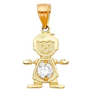 14kY Gold April Birthstone CZ Boy Pendant